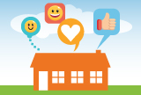 Graphic of house with emojis to represent Teacher Appreciation Week 2020
