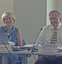 Angelika Schroeder and Steve Durham during Aug 16 SBE meeting