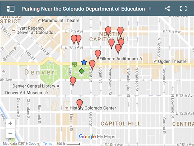Parking near the Colorado Department of Education - link to Google map