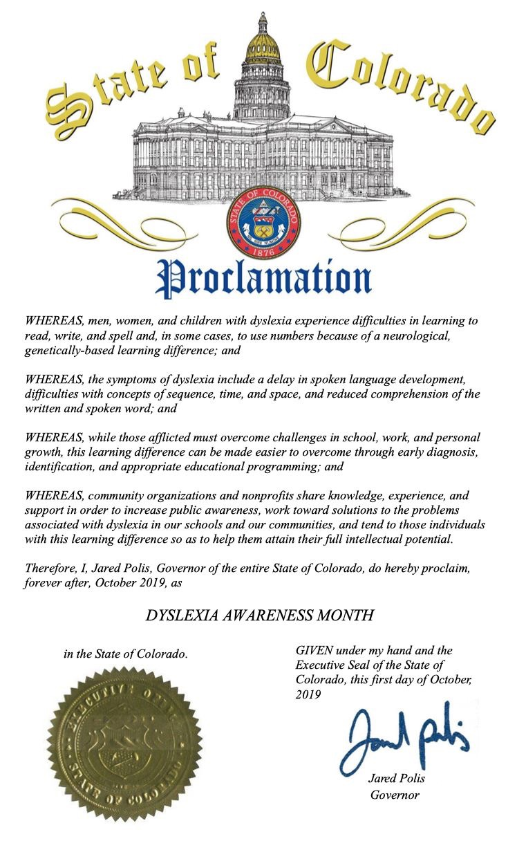 October is Dyslexia Awareness Month Proclamation by Gov. Polis 2019