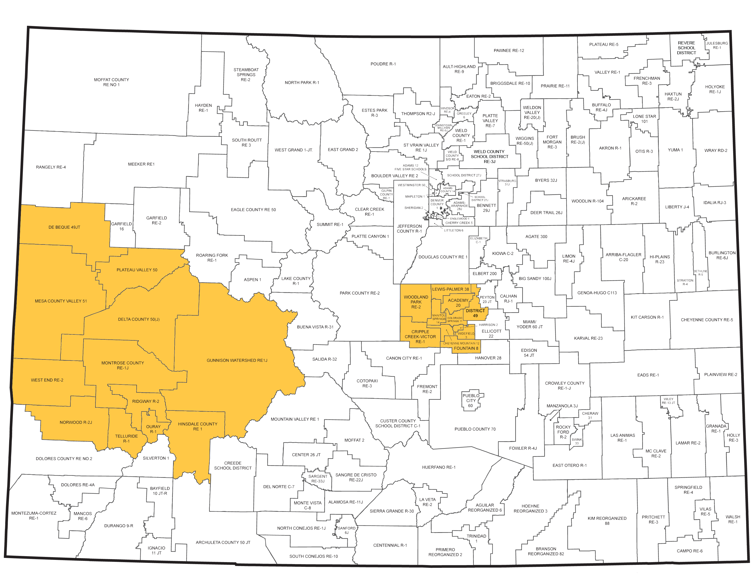 School District Map with West Central and Pikes Peak regions highlighted
