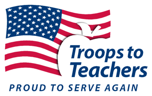 Troops to Teachers - Proud to serve again with American Flag
