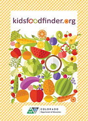 Postcard front: kidsfoodfinder.org fruits and vegetables.