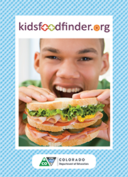 Postcard front: kidsfoodfinder.org teenage boy eating a sandwich.